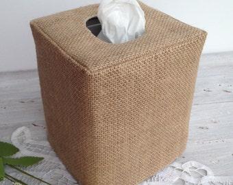 Burlap natural tissue box cover