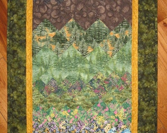 Mountain Flowers Art Quilt Fabric Wall Hanging, Quilted Wall Hanging, Landscape Quilt