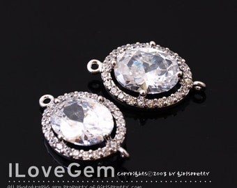 WSALE / 10 pcs / NP-1712 Rhodium Plated, Cubic zirconia, Oval Connector, 11X18.5mm / Cubic Connector, Cubic Pendant, Wedding jewelry