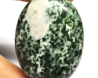 Natural Green Metagabbro Oval Cabochon - 40.3 x 30.2 x 9.0 mm - 102.3 ct - 151006-47