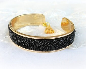 Black Caviar Effect Cuff Bracelet with Gold Tassel Charm, Leather Artificial Bracelet, Gold Cuff Bracelet - 1 piece