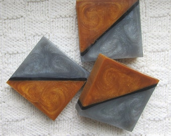 Vanilla Oak scented Golden Brown, Silver and Black Glycerin Soap