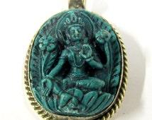 1 Pendant - Oval shape Tibetan Green Tara pendant from Nepal - PS017