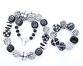 Ceramic Necklace and Bangle, Kazuri Bead Necklace, Black and White Abstract Design Necklace