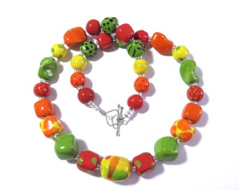 Ceramic Jewelry, Kazuri Bead Necklace in Autumn Colours