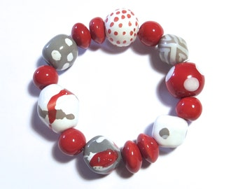 Kazuri Bangle, Red Grey and White Ceramic Bracelet
