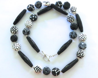 Black and White Kazuri Bead Necklace, Fair Trade Beads, Ceramic Necklace