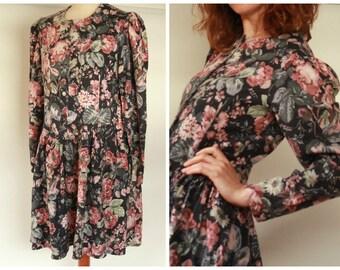 Laura Ashley Long Sleeve Floral 1980's Dress