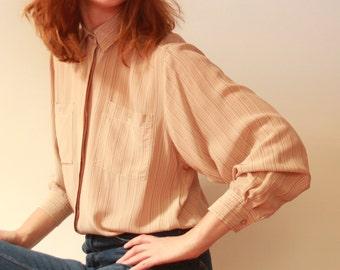 100% Silk Beige Stripe Blouse