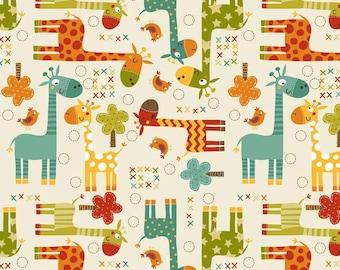 Laminated Cotton aka Oilcloth HEAVYWEIGHT splat mat Riley Blake bright giraffes on cream background choose your size