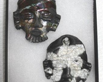 African Raku Mask Pendants (set of 2)