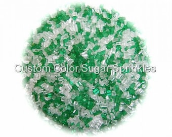 CHRISTMAS SUGAR CRYSTALS Green and White  Edible Sprinkles Cake,Cake Pops, Cookie and Cupcake Sprinkles Confetti Decorations