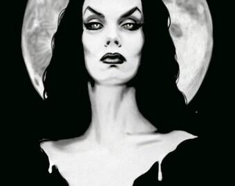 Vampira stretched canvas print