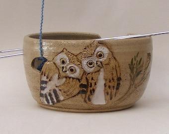 Owl Yarn bowl, Stoneware Ceramic yarn bowl, with engraved Owls Ready for shipment