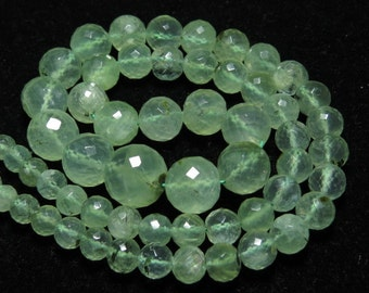 PREHNITE - 17 inches Full strand - AAA - High Quality Natural Yellow Green - Micro Faceted Round Ball Beads Huge size 6 - 11 mm approx