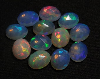Welo Ethiopian Opal - Top Grade High Quality - 8x10 mm Oval Rose Cut Cabochon Each Pcs Have Full Color Full Fire super sparkle - 10 pcs