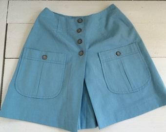 Blue Mini Skirt Skort Scooter Shorts Vintage 70s 60s Mod XXS 22 Waist