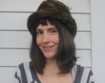 Vintage Alpine Hat Fur Fedora M Trapper Tyrolean Oktoberfest Austrian Bavarian German