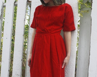 Red Velvet Party Dress Cocktail Vintage 60s 1960s Holiday Christmas XS