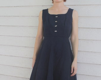 Vintage 50s Party Dress Blue Faille Sleeveless 1950s XS