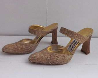 Vintage 80s Shoes Heels Mules Open Back 5 M Timothy Hitsman