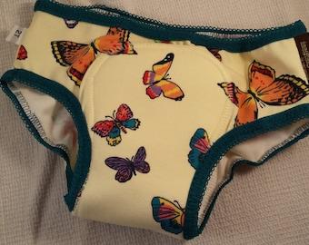 PREMIUM - NEW COLOR Cotton Toddler Girls Training Underwear with Waterproof Pad - Bright Butterflies - Flutter 3118
