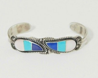 Vintage Zuni Sterling Silver Multi-Stone Inlay Cuff Beacelet Signed WS zuni