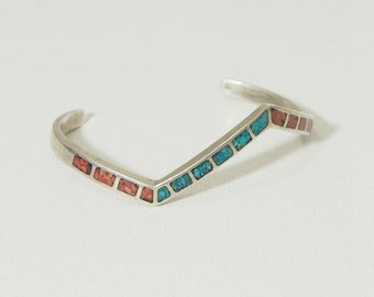 Vintage Zuni Sterling Silver Zig Zag Cuff Bracelet Crushed Turquoise and Red Coral