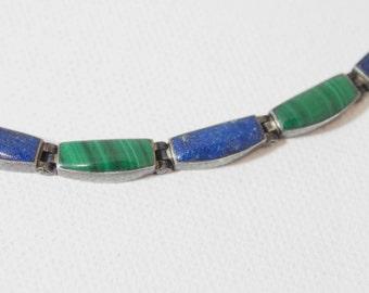 Lapis Lazuli and Malachite Linked Necklace 950 Sterling Silver Good Patina