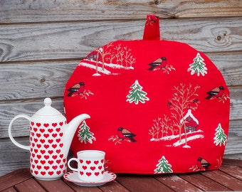 Linen Coffee Pot Cozy, Christmas Cozy, Red, Pure Linen Coffee Pot Warmer, Handmade, Large Size