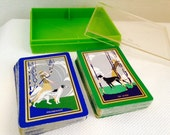 Green and Blue Vintage Congress Dog Playing Cards Set, Bridge Set, 2 Decks in Case, Borzoi and Greyhound