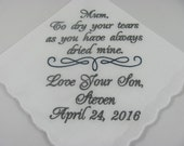 Personalized Mother of the Groom Embroidered Wedding Handkerchief Mother In Law Wedding Gift Keepsake Lace Hanky by Simply Sweet Hankies