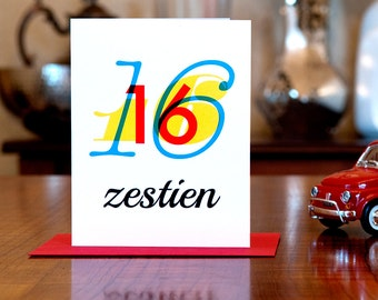 Zestien - Number Sixteen (16) Dutch Bilingual Birthday Card in Primary Colors on 100% Recycled Paper