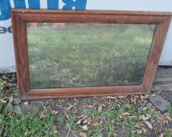 Old Mirror w/ Oak Frame