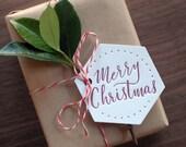 Letterpress Hexagon Christmas Tags