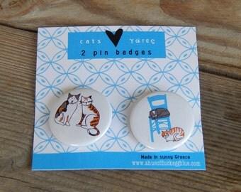 Greek Cats Pin Badge Set