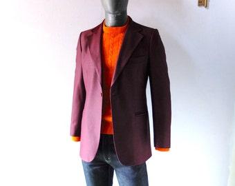 Vintage Ole Hansen Copenhagen Mens Plum Sport Coat - 38 to 40 R - 1960s Designer Blazer - Eiser Swedish Knit Fabric - Rat Pack Sinatra 60s