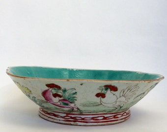 Antique Chinese Bowl with Roosters