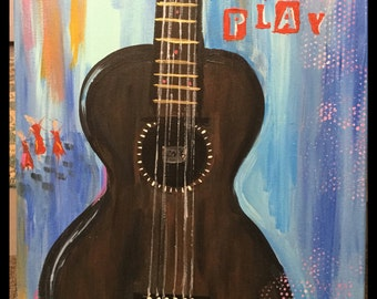 16 X 20 acrylic painting parlor guitar art blues dancers original Ooak signed art ready to frame or hang as is