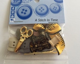 Dress it up A Stitch in Time buttons - sewing machine, scissors, bobbins and more - original packaging