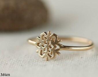 14k Gold Snowflake Ring,  Gold Snowflake Ring, Geometric