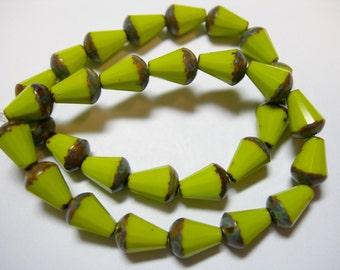 15 Avocado Green Picasso Czech Glass Faceted Teardrop Beads 8x5mm