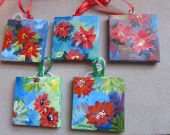 Christmas Ornaments 3x3 YOU PICK ONE Floral Abstract Acrylic Painting Square Original