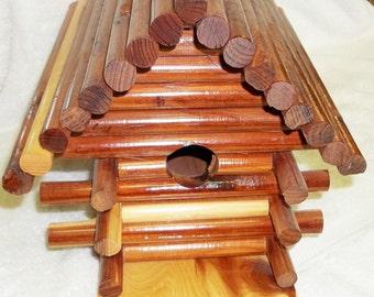 Handcrafted Cedar Log Birdhouse
