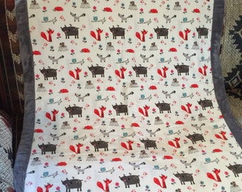 Forest creatures baby blanket
