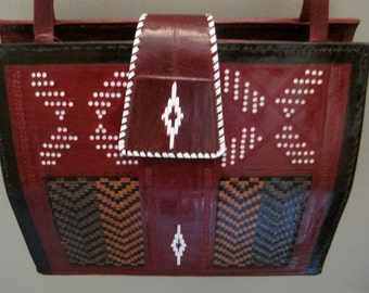 Vintage Tooled and Stitched Red  Leather BAG Boho Native American Design