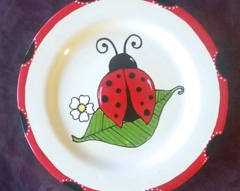 Lady Bug Plate - Birthday gift - New Baby Gift - newborn baby - child gift -  birth plate - christmas gift - lady bug
