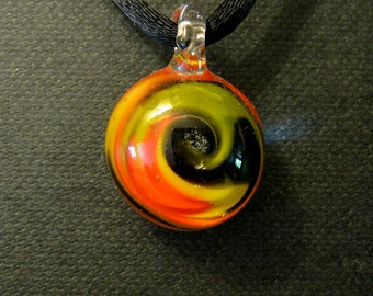 Boro Glass Wig Wag Pendant Lampworked Focal Bead Necklace