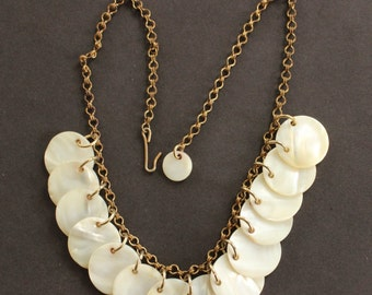 1960's Faux Mother of Pearl Disk Bib Necklace