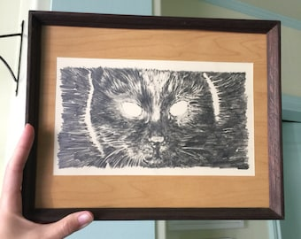 Kuroneko Cat - Original Framed Drawing by Aiyana Udesen